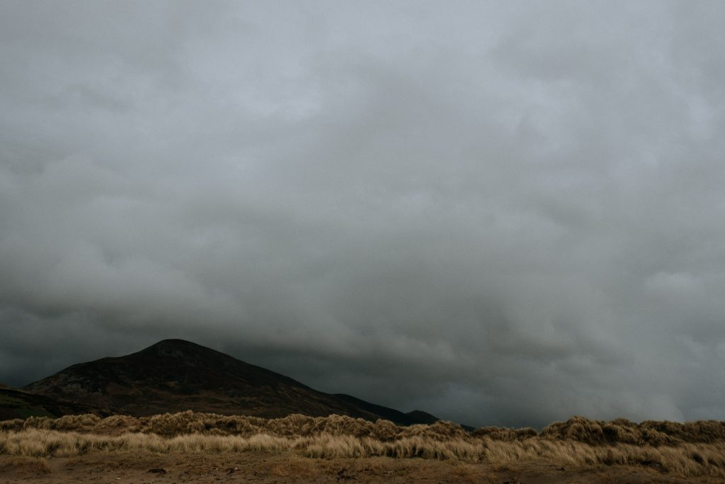 moody sky over mountains in Irelands west coast
