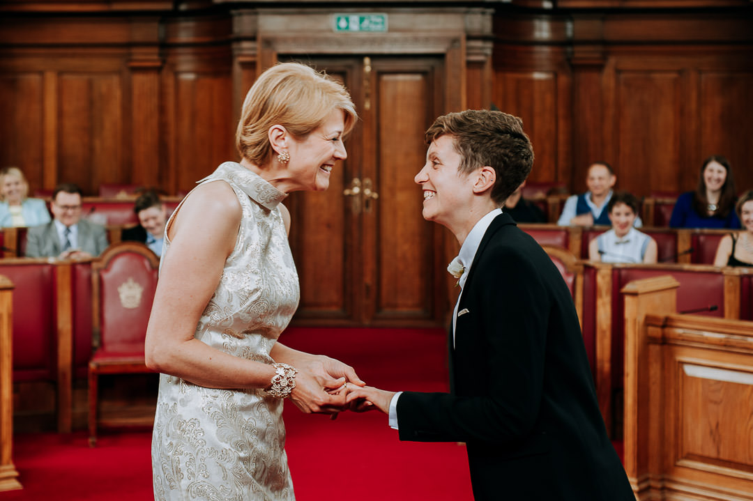 Islington town hall ring exchange during same sex wedding ceremony