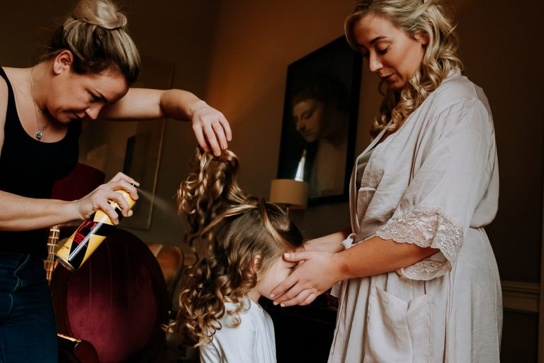 carton house wedding daughter of the bride with hairspray and curlers