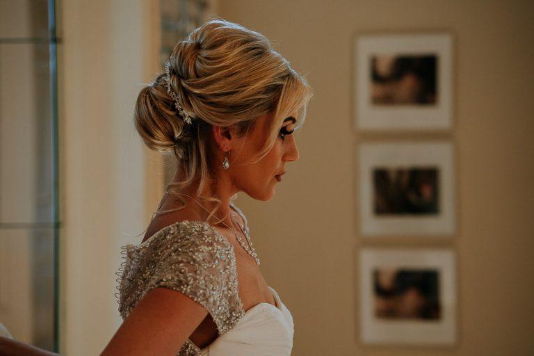 Carton House wedding Bride side profile portrait