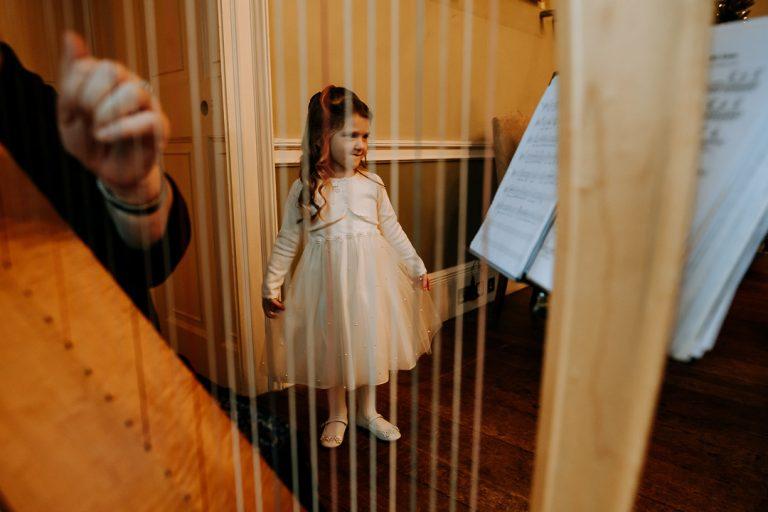 Carton House wedding flower girl and harp player
