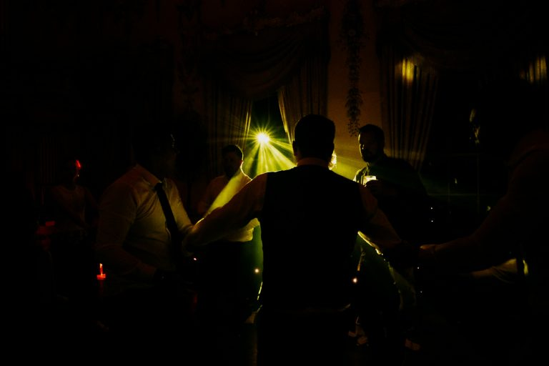 carton house wedding dance floor silhouetted with DJ lights