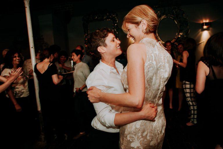 Islington same sex wedding first dance at Dead Dolls house