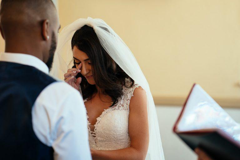 emotional Bride Glenmore House Surbiton candid wedding photography