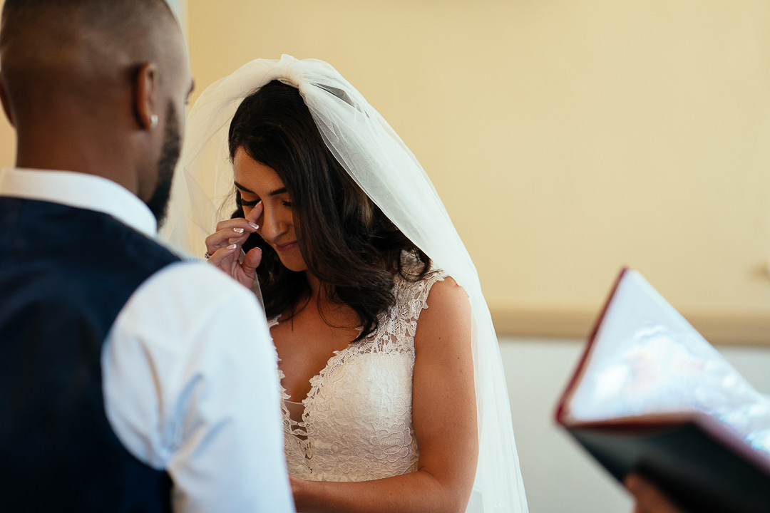 emotional Bride Glenmore House Surbiton candid wedding photography