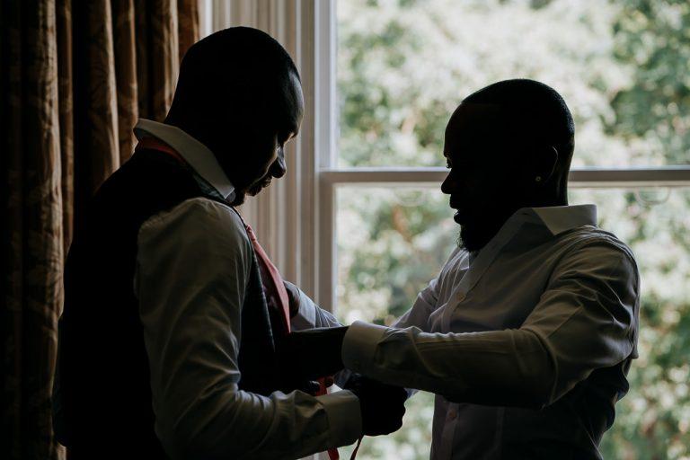 Glenmore House Surbiton wedding groom preparation