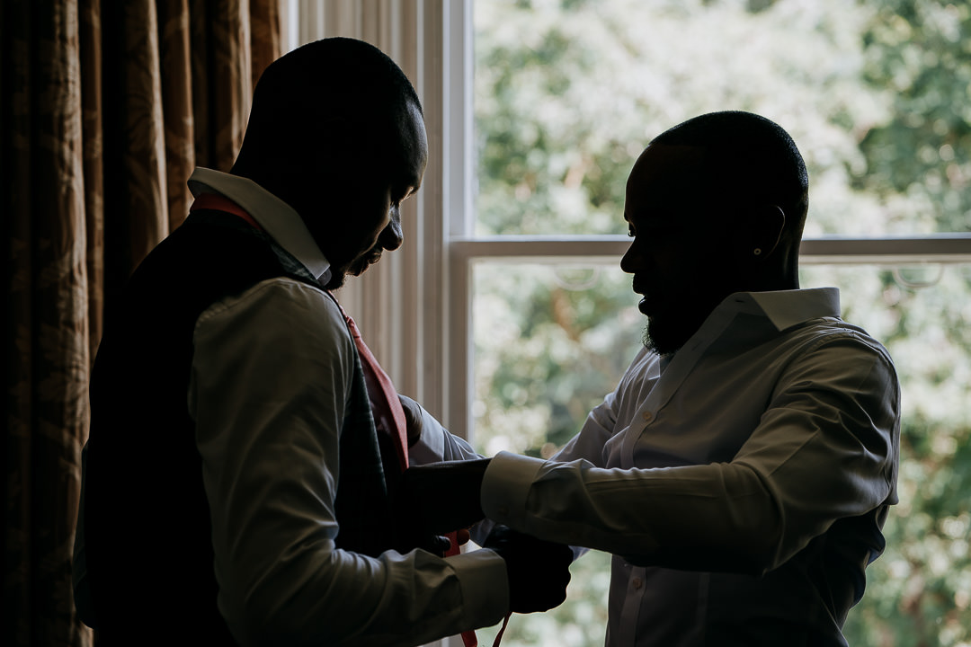 Glenmore House Surbiton wedding groom preparation