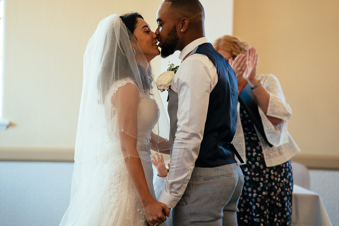 first kiss Glenmore House Surbiton wedding