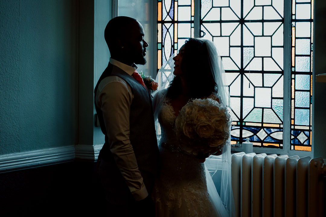 wedding couple portrait Glenmore House Surbiton