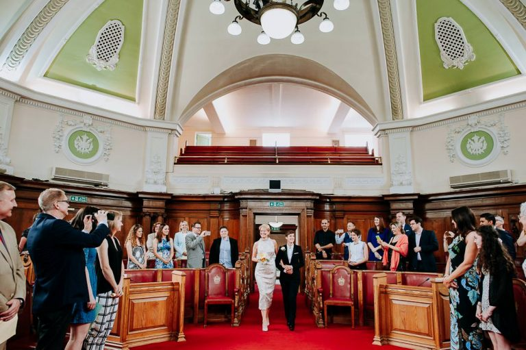 arrival of same-sex couple at Islington town hall