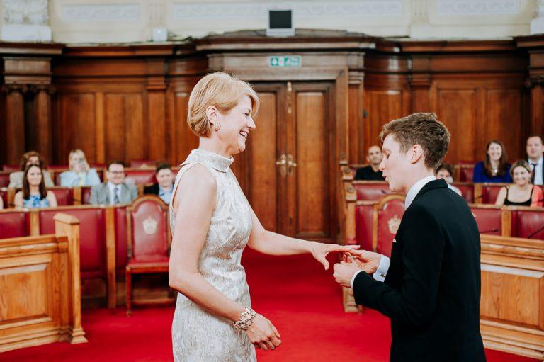 ring exchange at Islington town hall same-sex wedding