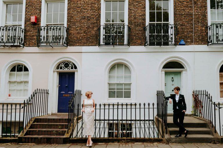 same-sex Islington wedding portrait outside victorian terraced houses