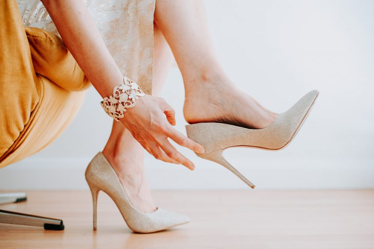 candid islington wedding shoe detail image