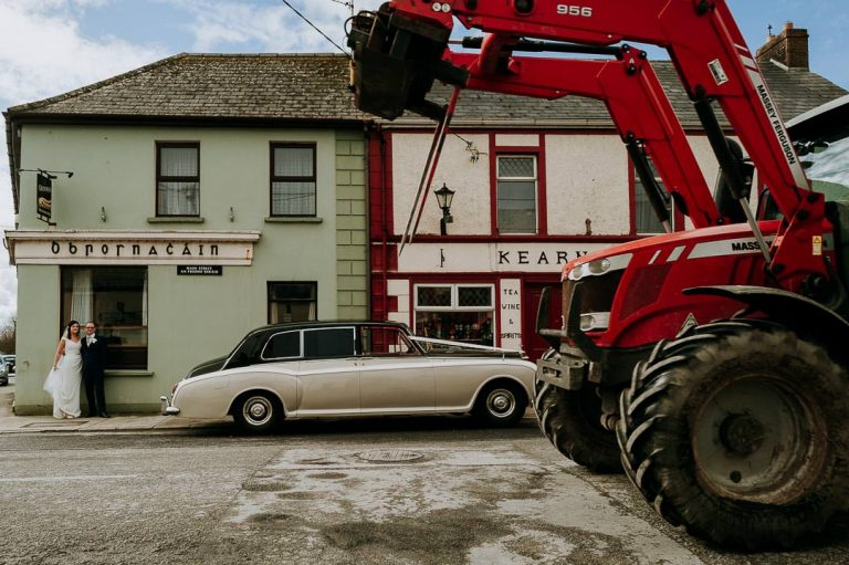 Wild Atlantic way Kerry wedding including a photobombing tractor.