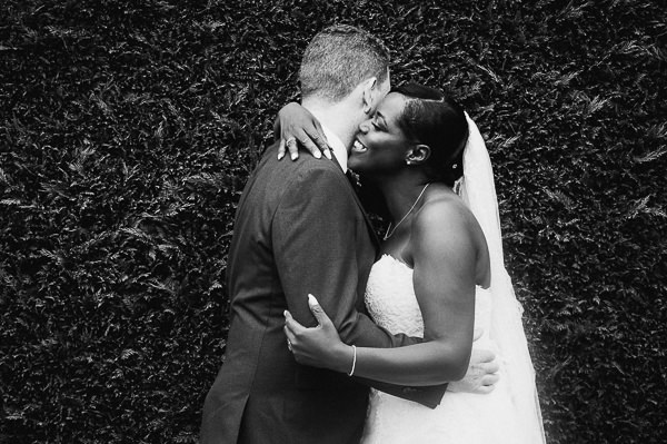 relaxed couples portrait at Dyrham park North London wedding.