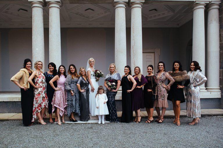 Carton House wedding Bride squad group photograph