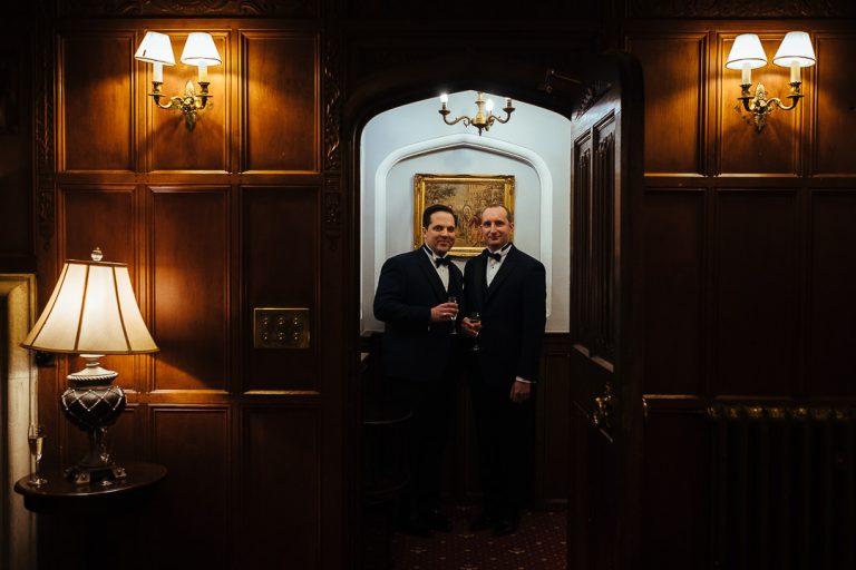 Woodhall manor wedding same sex couple portrait