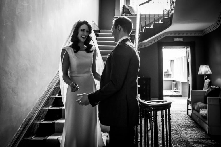 Bride and Groom greeting for the first time at Kilshane House first reveal