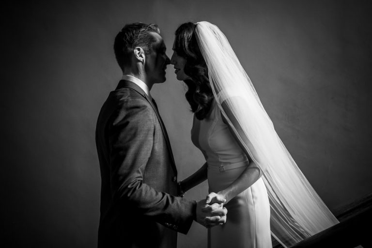 Bride and Groom kiss after first reveal at Kilshane House Ireland