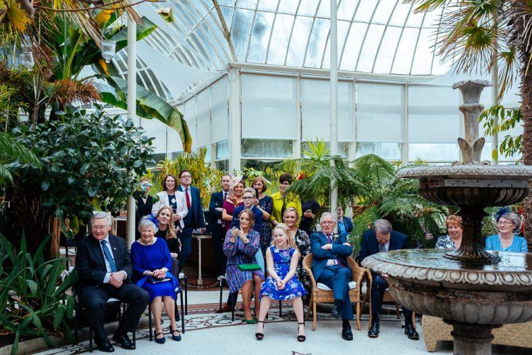 Wedding guests at the Orangey Kilshane House Ireland